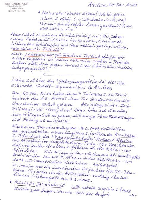 Bedanken Brief Beispiel Zivilcourage Lohnt Sich Ein Pers 246 Nlicher Brief Geschwister Scholl Gymnasium Aachen