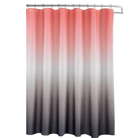 Coral And Grey Curtains Creative Home Ideas Ombre Waffle Weave 70 In W X 72 In L Shower Curtain With Beaded Rings In