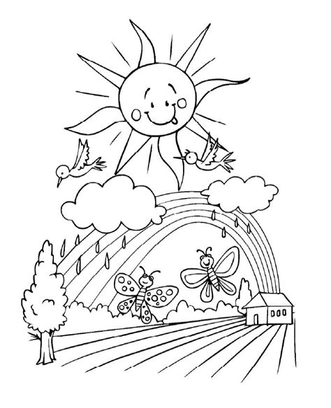 spring sun coloring page 307 free printable spring coloring sheets for kids