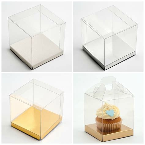 transparent pvc cube cup cake wedding favour gift boxes