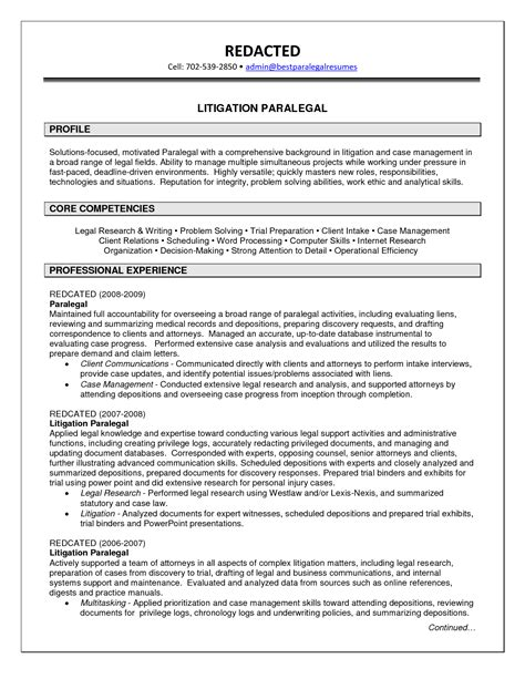 Paralegal Resume Sle by Sle Litigation Paralegal Resume 28 Images Litigation