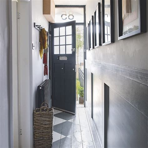 Dark Blue Dining Room panelled hallway with painted floor decorating with