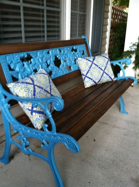 painted bench ideas spruce up a wrought iron bench with some dark stain and a