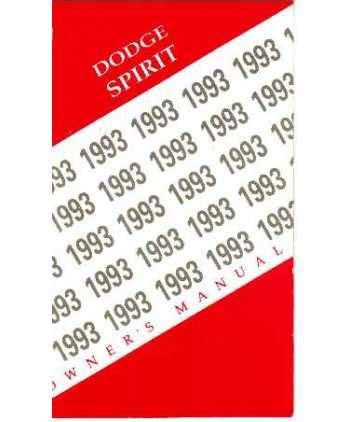 manual repair autos 1993 dodge spirit parental controls 1993 dodge spirit owners manual