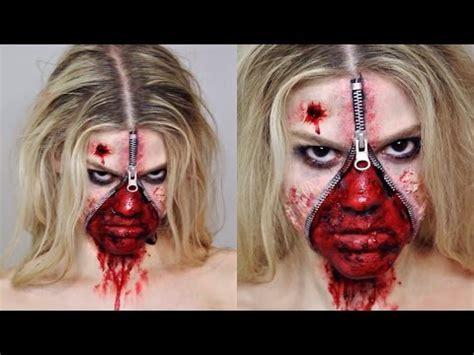 zombie zipper tutorial unzipped zipper face sfx makeup tutorial halloween youtube