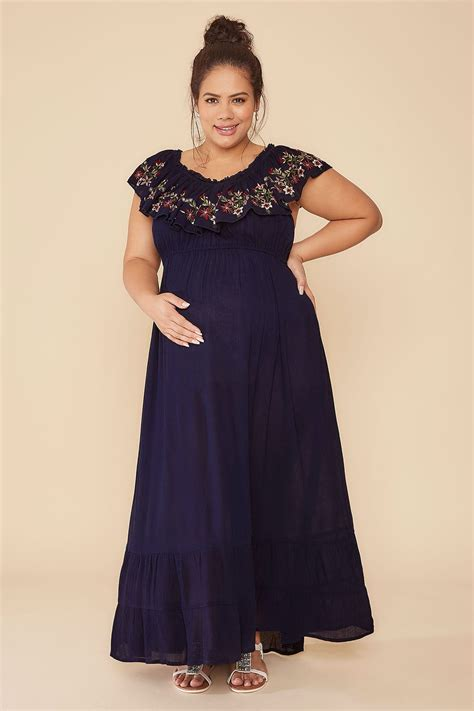 Does A Temporary Restraining Order Show Up On A Background Check Bump It Up Maternity Navy Bardot Maxi Dress With Embroidered Frill Panel Plus Size 16