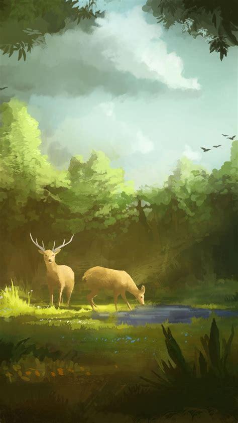 deer grazing fantasy artwork  wallpaper