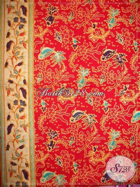 P Warna Motif kain batik motif ikan warna merah bahan batik murah untuk