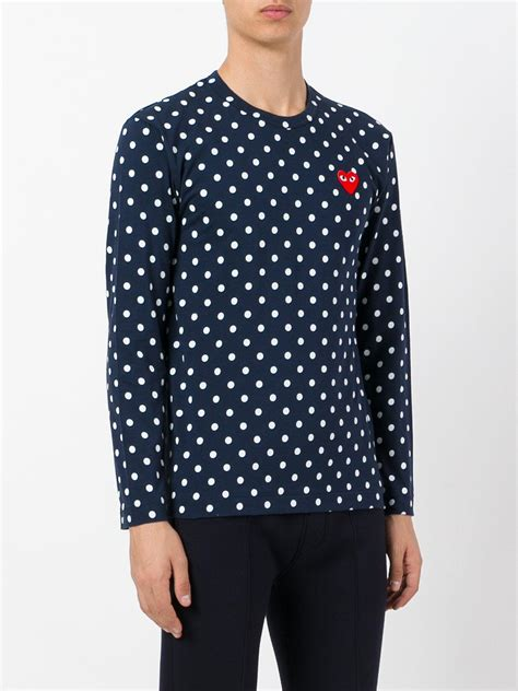 Blue Collor Dot Shirt play comme des gar 231 ons polka dot t shirt in blue for lyst