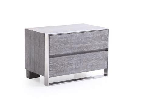 Stainless Steel Nightstand Modrest Arlene Modern Grey Elm Stainless Steel Bedroom Set