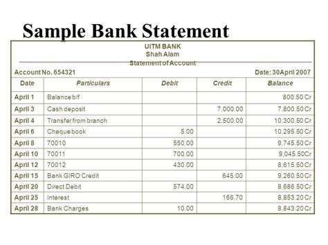bank account in debit bank reconciliation statement ppt