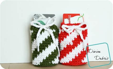 Gift Card Bag - candy cane inspired drawstring gift card holder bag allfreecrochet com