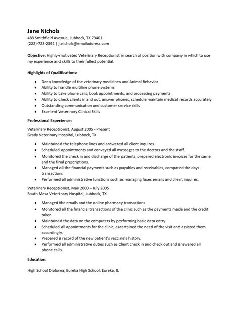 Resume For Receptionist At Veterinary Clinic Free Veterinary Receptionist Resume Template Sle Ms Word