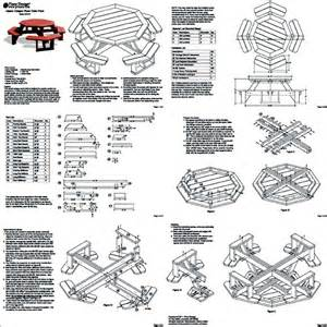 Octagon Patio Table Plans Classic Octagon Picnic Table Woodworking Plans Blueprints Odf08 Ebay