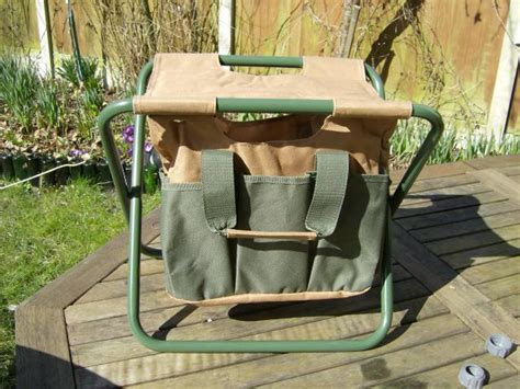 tool stool in brown and green