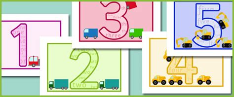 printable numbers early years vehicle themed numbers 1 10 free early years primary