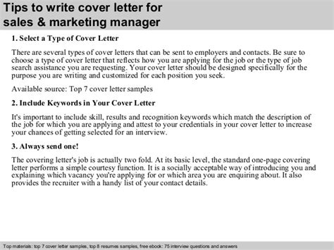 Cover Letter Sle Marketing Manager Sales Marketing Manager Cover Letter