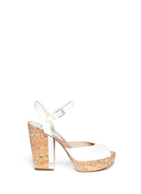 cork heel sandals michael michael kors cork heel leather platform