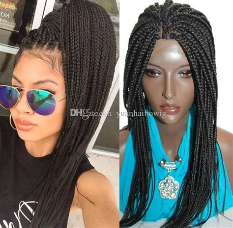 Cheap Synthetic Hair Box Braid Lace Front Wigs Heat