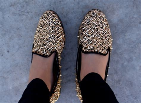 black loafers with gold studs thefashionbuyer black and gold