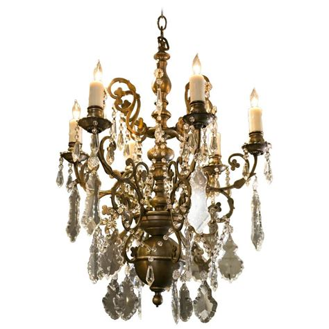 Pewter Colored Crystal Chandelier With Six Arms For Sale Pewter Chandeliers
