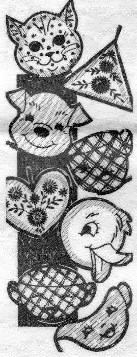 "D7452 Cat Dog Heart Potholders 6"" Vintage Sewing Pattern"