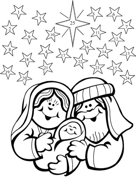 free printable nativity advent calendar color the picture then each day color one star beginning