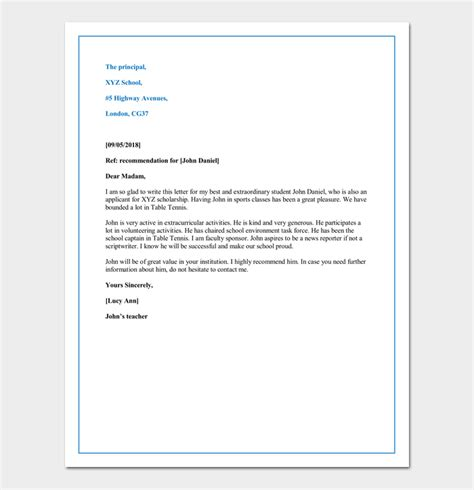 Letter Of Recommendation Beginning letter of recommendation for child school cover