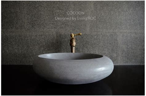 19quot round oval gray basalt stone vessel sink cocoon moon
