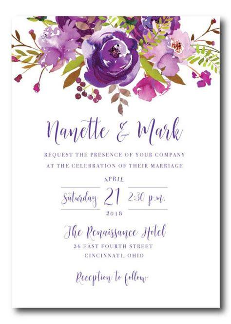purple wedding invitation with watercolor flowers wedding invitation set printable invitations