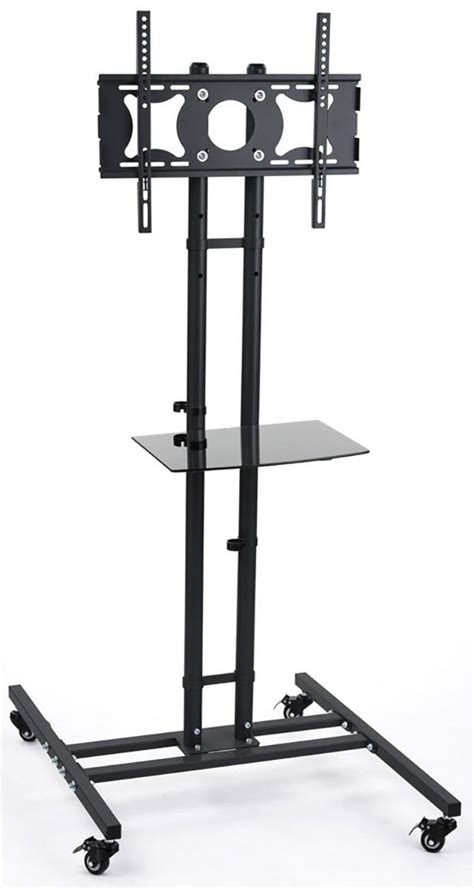 monitor stand cl on glass mobile lcd tv racks have four 4 locking casters the led