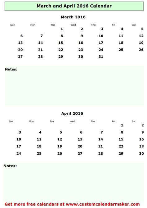 Calendar For Rest Of 2016 March And April 2016 Calendar Free Printable Template
