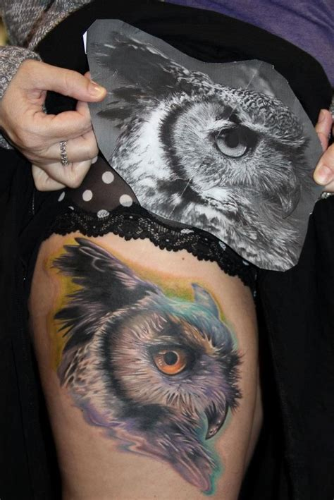 realistic owl tattoo realistic owl by audie fulfer high class in fresno