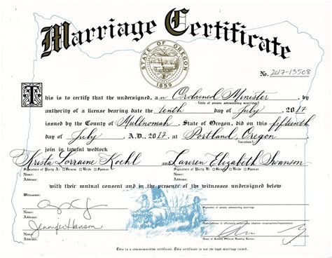 Oregon Marriage License Records Marriage Certificate Calligraphy Caitlin Dundon