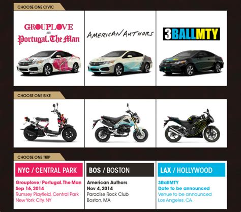 Honda Sweepstakes 2014 - 2014 honda civic tour sweepstakes win a civic bike or trip for two the news wheel