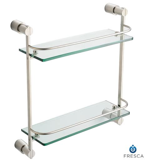 Object Moved Bathroom Glass Shelves Brushed Nickel