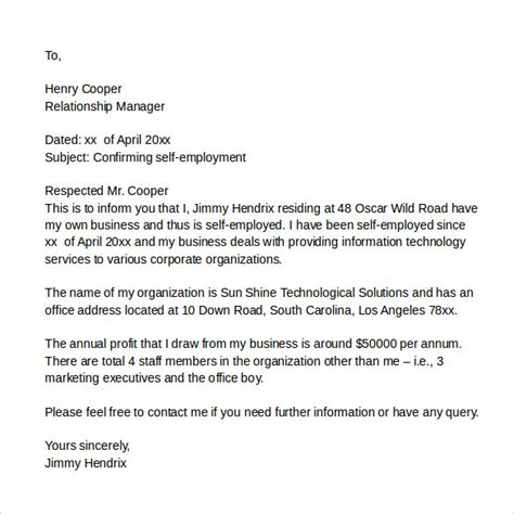 self employed cover letter sle it cover letter sles exles format 7