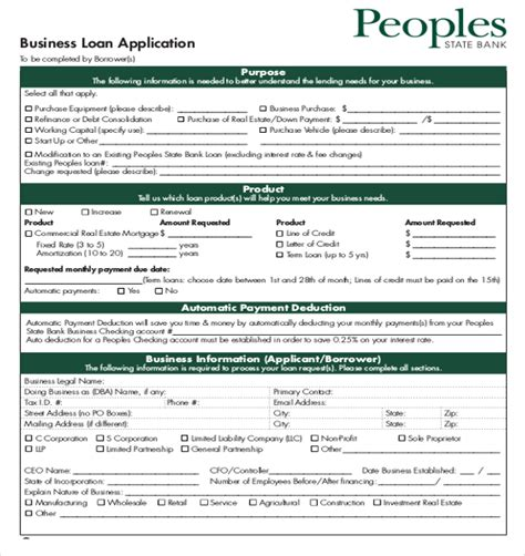 business loan application template loan application templates 7 free sle exle