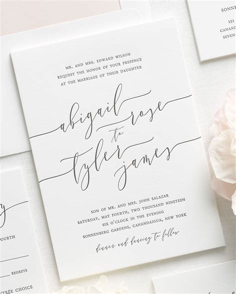 Wedding Invitations Letterpress by Calligraphy Letterpress Wedding Invitations