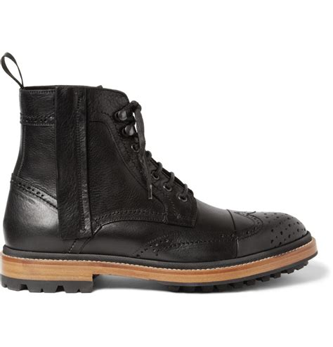 lanvin leather brogue boots in black for lyst