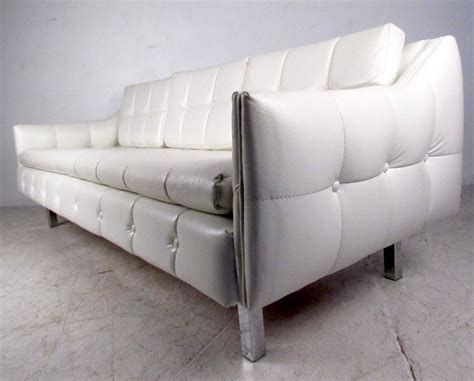 mid century tufted white vinyl sofa for sale at 1stdibs