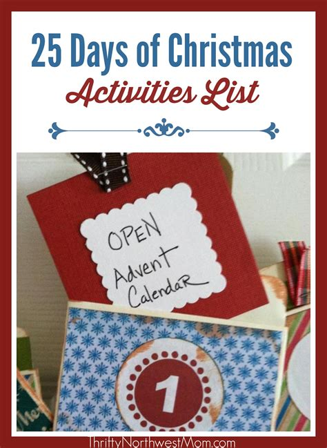 celebrating the 25 days of christmas activities list