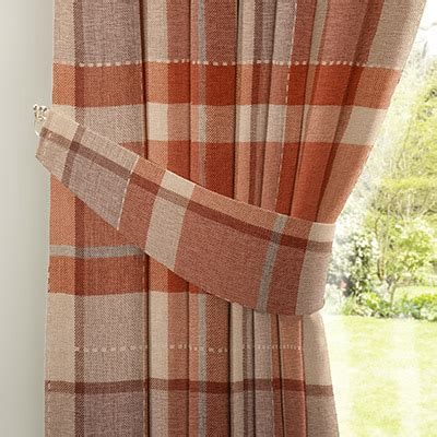 orange check curtains curtain rustic woven check ginger next made to measure