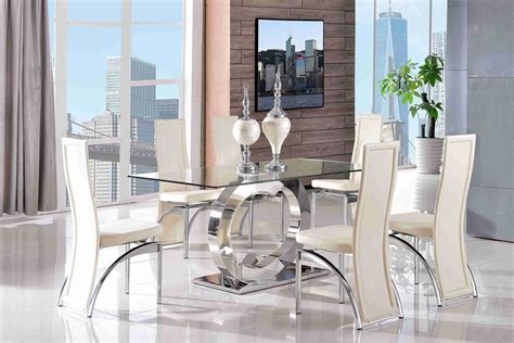 Clear Glass Dining Table And 6 Chairs Channel 160cm Steel Clear Glass Dining Table And 6 Faux Leather Ivory Chairs Ebay