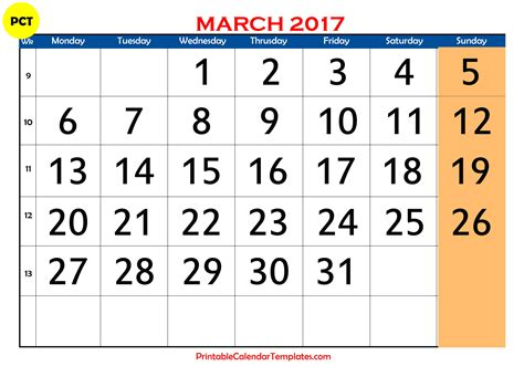 printable march 2017 calendar template monthly calendar 2017