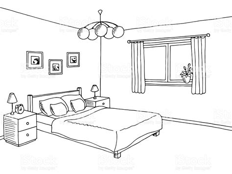 schlafzimmer comic interior designs clipart black and white pencil and in