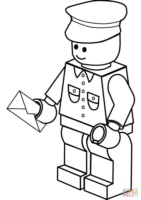 easy lego coloring pages lego postman coloring page free printable coloring pages