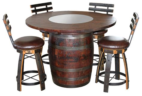 amish whiskey barrel table amish 48 inch stained barrel table quarter sawn white