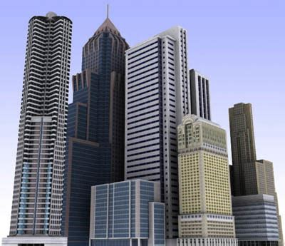 max modern city buildings low poly