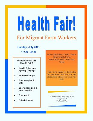 templates for health fair flyers niagara migrant workers interest group june 2011